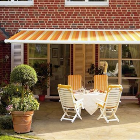 patio awning in stripy fabric for your garden