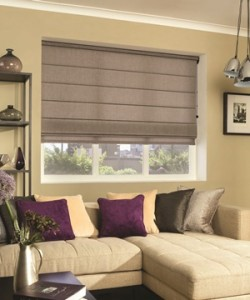 Roman blind in light brown fabric in your lounge