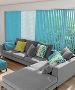 Vertical blinds in carnival solid block fabric
