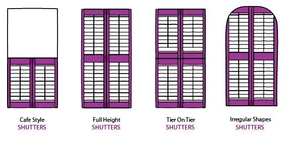 Shutter styles including cafe style, full height shutters, tier on tier shutters and shaped shutters